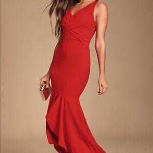 Lulus Noreen Red Sleeveless High-Low Maxi Dress